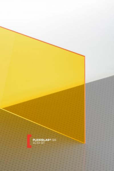 PLEXIGLAS® GS Yellow 1C33 GT Sheet transparent highgloss UV absorbent