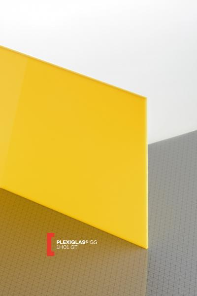PLEXIGLAS® GS Jaune 1H01 GT Plaque Transparence lumineuse translucide brillante higloss absorbant les UV