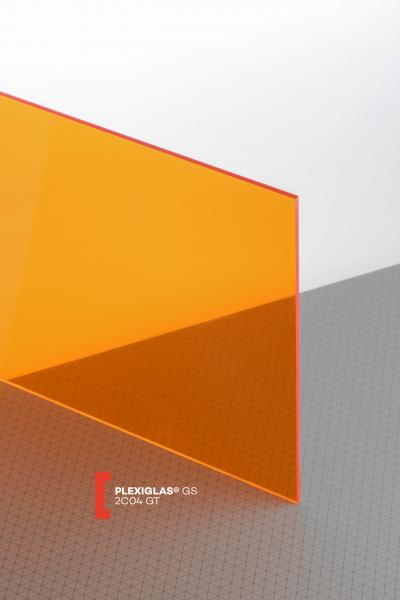 PLEXIGLAS® GS Orange 2C04 GT Plaque Transparence lumineuse transparent brillante higloss absorbant les UV