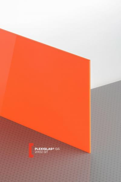 PLEXIGLAS® GS Orange 2H02 GT Sheet translucent highgloss UV absorbent