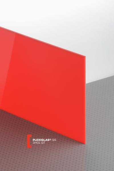 PLEXIGLAS® GS Rouge 3H01 GT Plaque Transparence lumineuse translucide brillante higloss absorbant les UV