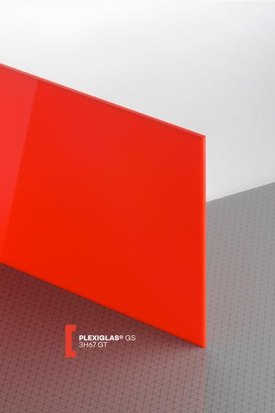 PLEXIGLAS® GS Red 3H67 GT Sheet translucent highgloss UV absorbent