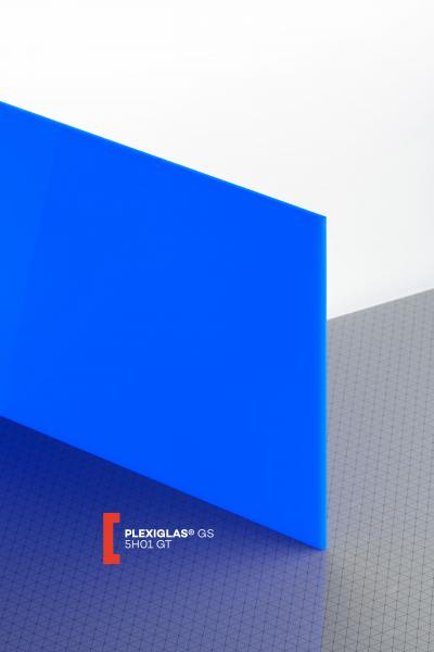 PLEXIGLAS® GS Blue 5H01 GT Sheet translucent highgloss UV absorbent