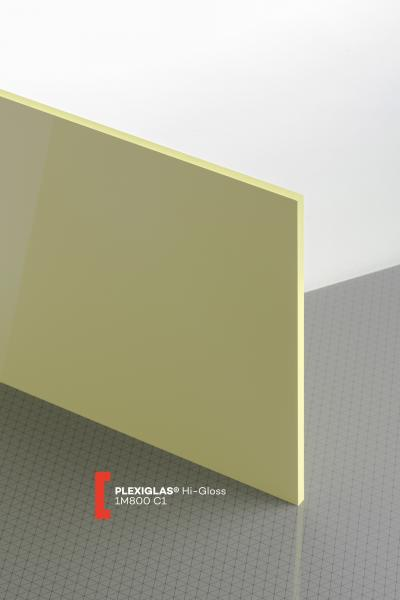 PLEXIGLAS® HiGloss Lemon 1M800 C1 Sheet opaque highgloss UV absorbent