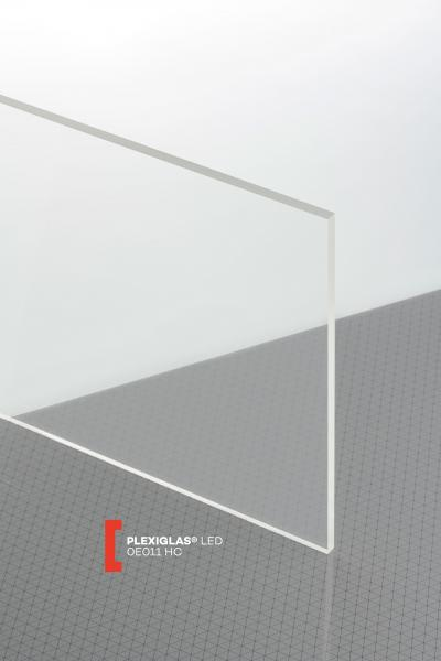 PLEXIGLAS® LED Clear 0E011 HC Sheet transparent scratch resistant light diffusing edge illumination
