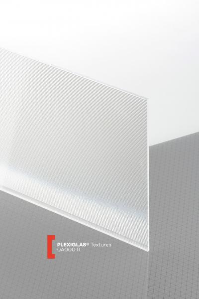 PLEXIGLAS® Textures Transparent 0A000 R Plaque Transparence lumineuse transparent structurée absorbant les UV