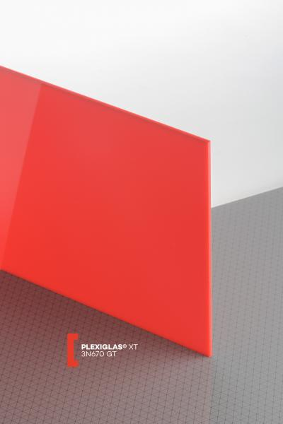 PLEXIGLAS® XT Red 3N670 GT Sheet translucent highgloss UV absorbent
