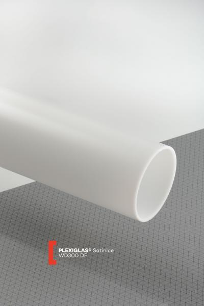 PLEXIGLAS® Satinice White WD300 DF Tube translucent matte / frosted UV absorbent