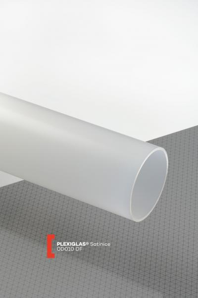 PLEXIGLAS® Satinice Clear 0D010 DF Tube translucent matte / frosted UV absorbent